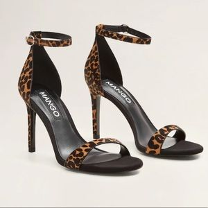 Mango Meghan Leopard Cheetah leather sandals